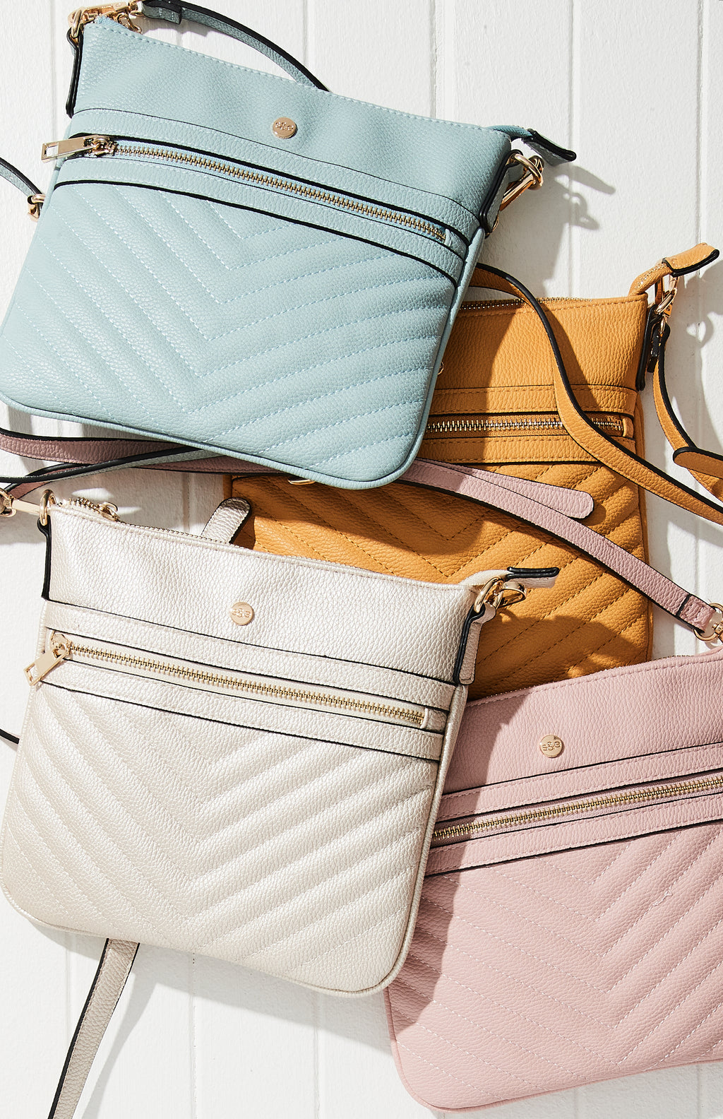 pastel chevron quilted vegan leather crossbody bag
