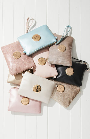 s&e logo pastel crossbody pouch clutch party bag