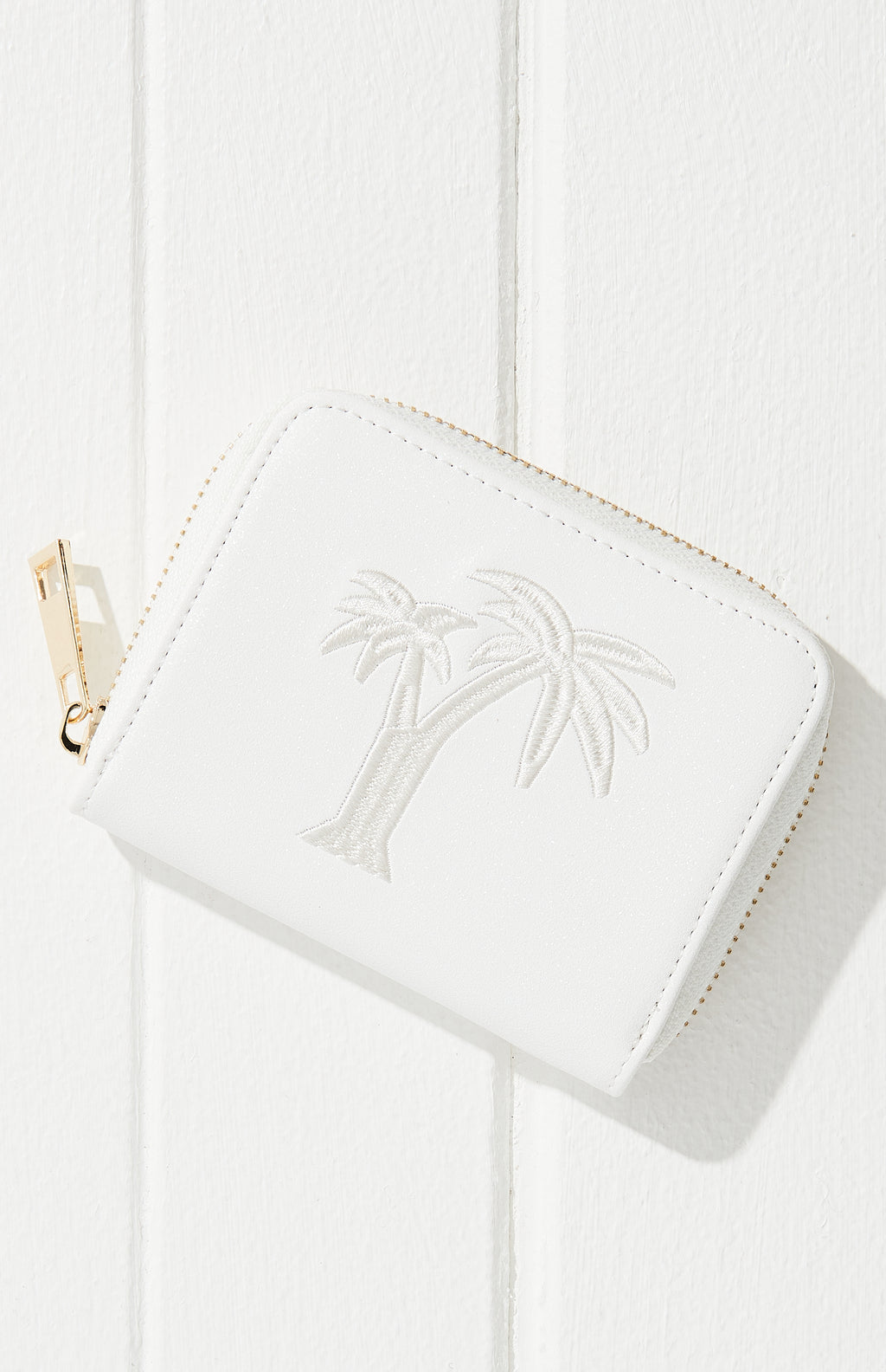 Glitter Palm Tree Embroidered Vegan Leather Mini Wallet