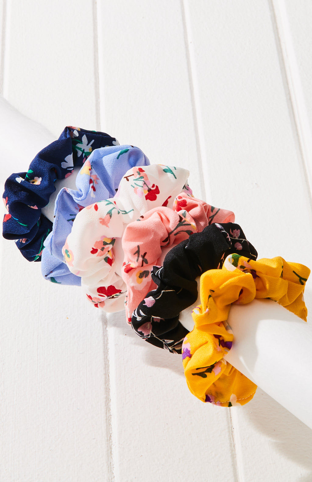 Boho Floral Rainbow Scrunchies Hair Tie Set