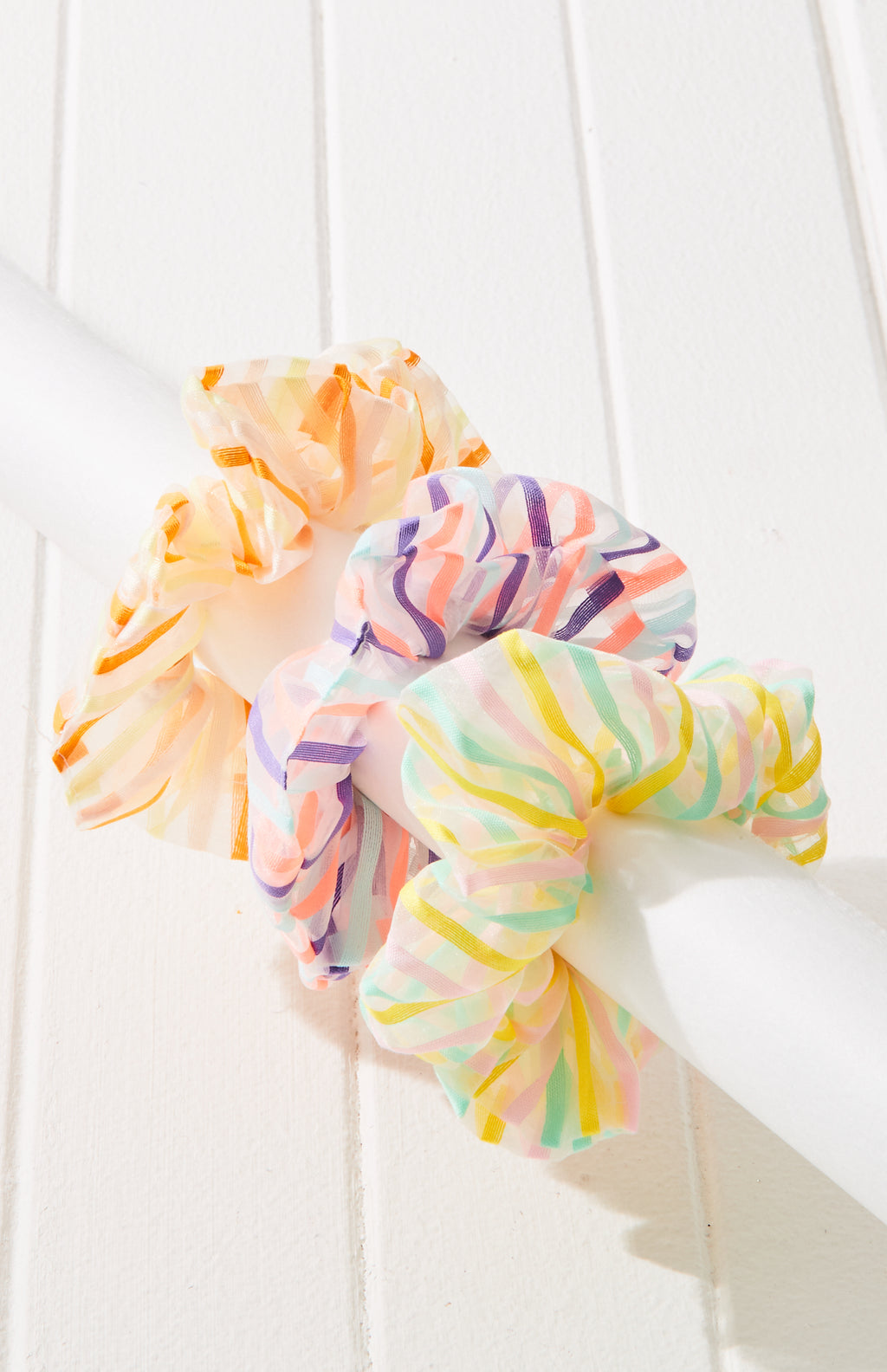 Rainbow Striped Organza Scrunchie Hair Tie 3 Pack