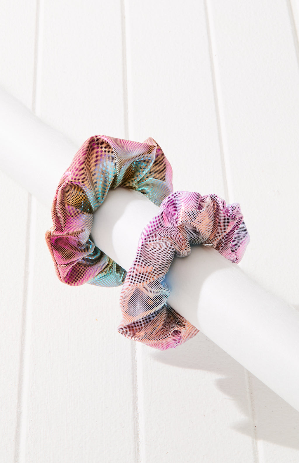 Metallic Rainbow Scrunchie Hair Tie 2 Pack