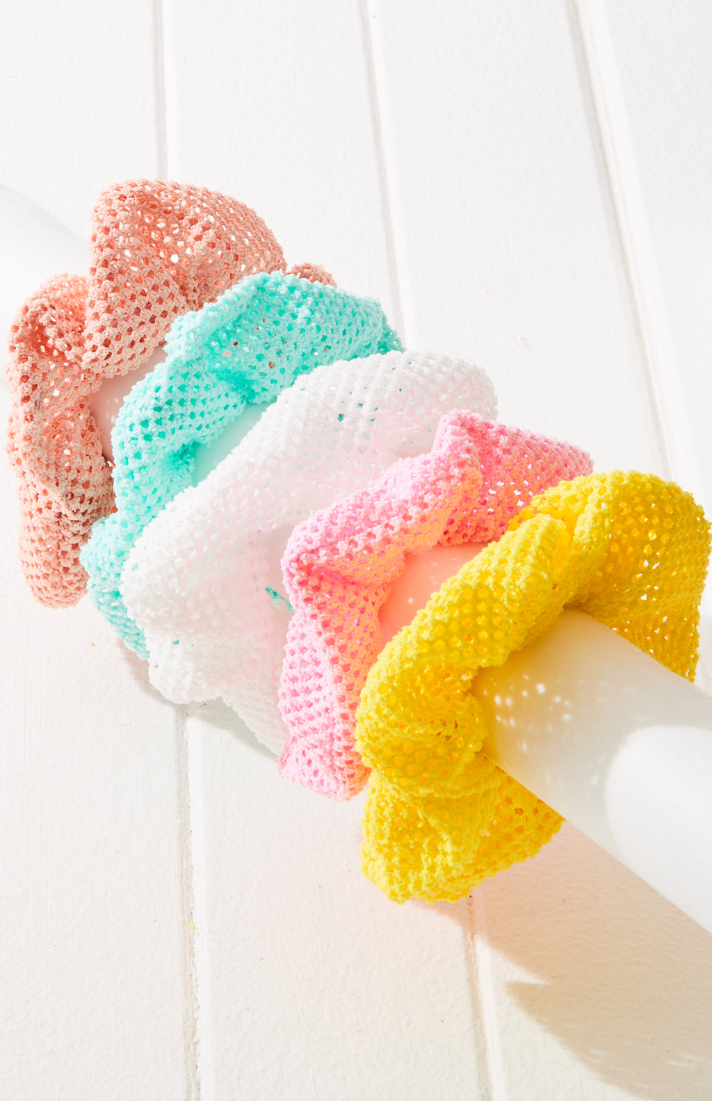honeycomb mesh rainbow scrunchies hair tie set