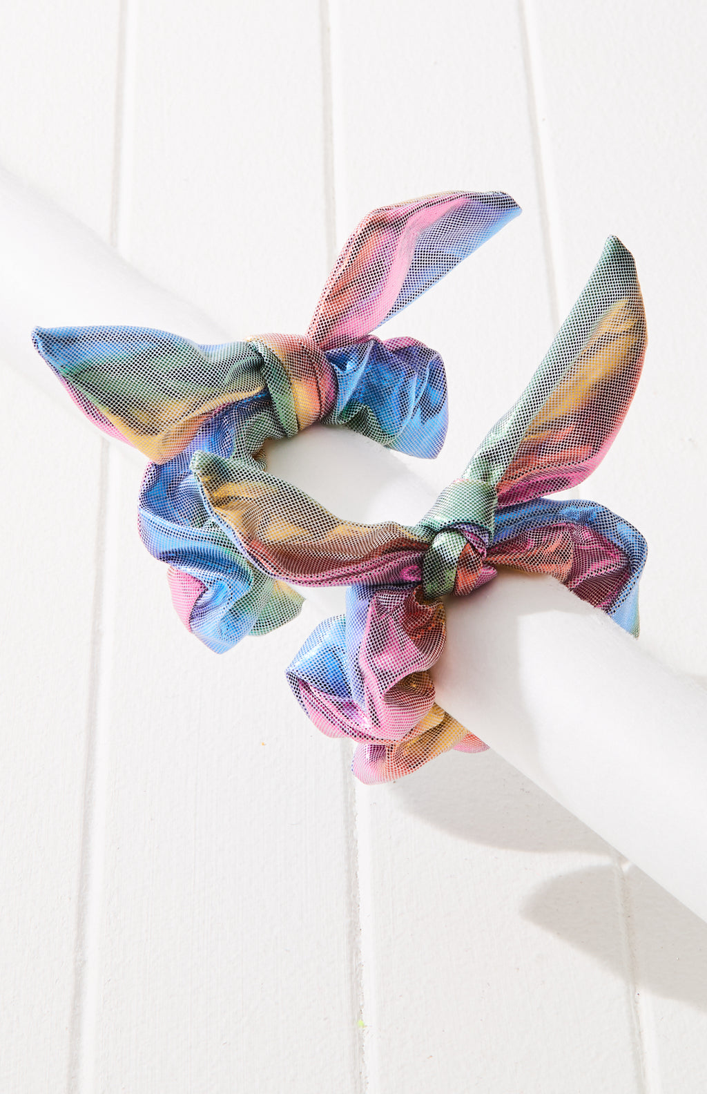 rome vibe rainbow metallic scrunchie hair tie set