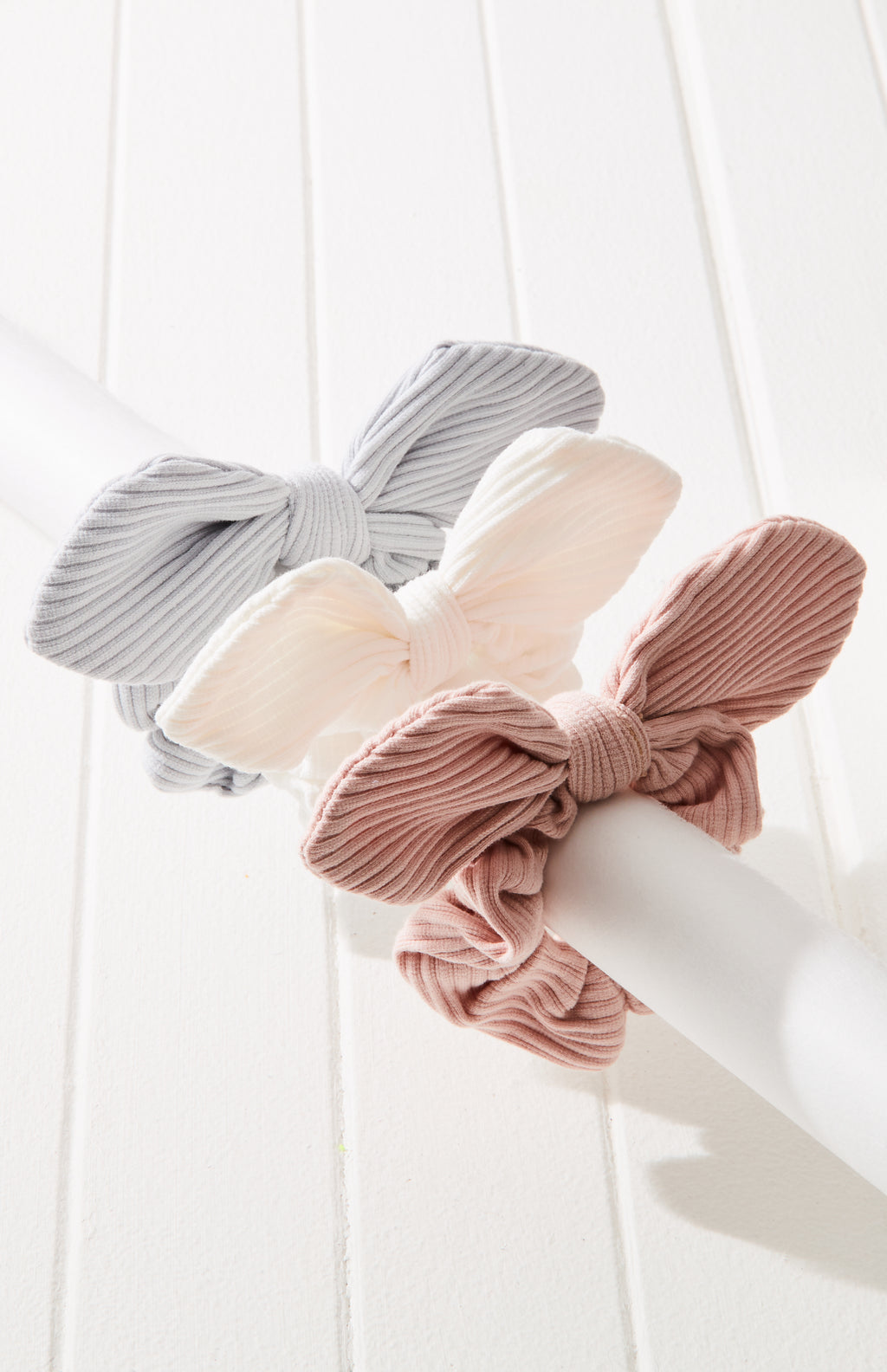 Vintage Ribbed Jersey Knot Bow Scrunchie Hair Tie 3 Pack