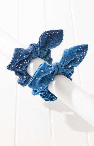 sky of stars denim metallic knot bow scrunchie set