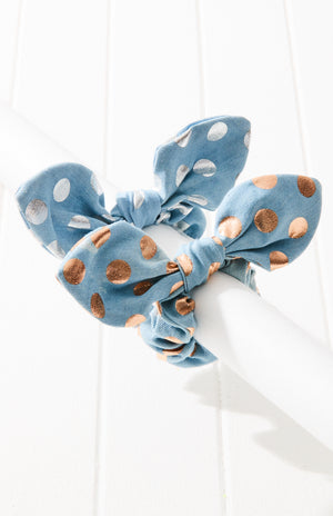 Metallic Polka Dot Denim Bow Scrunchie Hair Tie 2 Pack - Gold/Blue