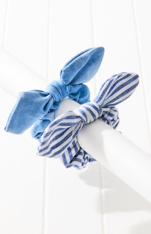 beach tie dye striped bow scrunchie hair tie set