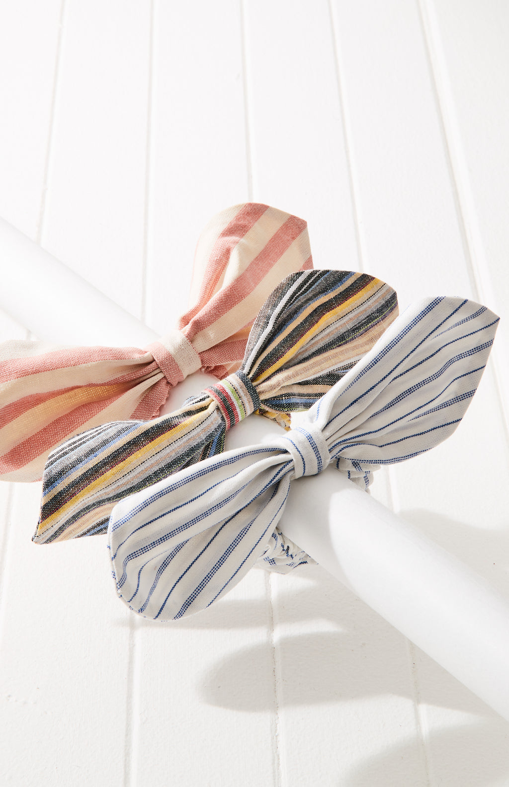 doreen pastel striped knot bow scrunchie hair tie set