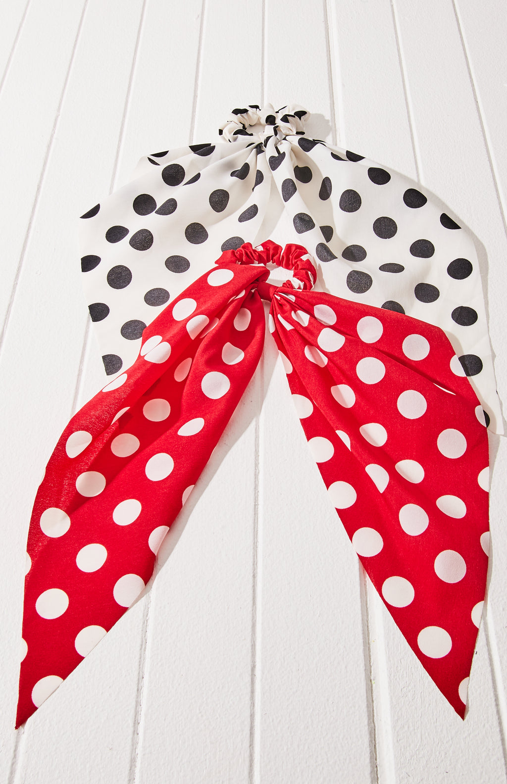 maude polka dot mini scarf scrunchies hair tie set