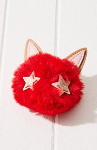 kitty faux fur pom pom keyring
