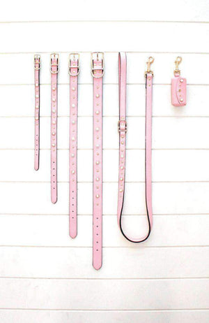 pink pearl studded vegan leather dog poop waste bag holder