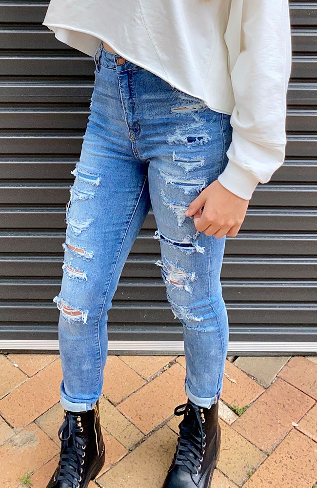 palmer blue stretch denim multi rips skinny high rise jean