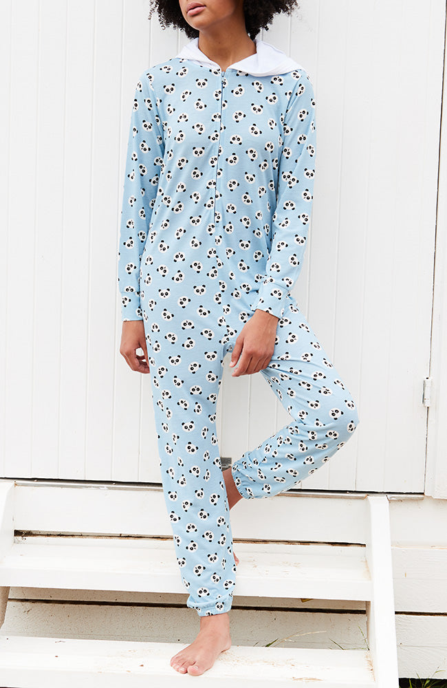 pandora panda blue zip-through hooded girls onesie
