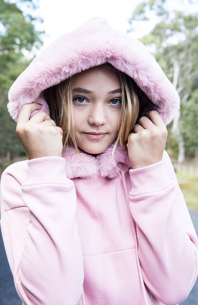 Paris Pom Pom Luxe Hoodie Faux Fur Girls Sweat Top