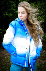 Puff Sister Super Soft Girls Hooded Puffer Jacket Coat - Dip Dye