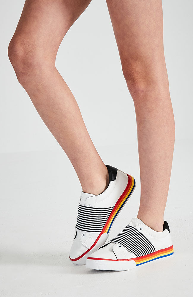 rainbow striped elastic vegan leather white sneaker