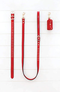 red diamond studded vegan leather fashion dog lead