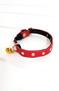 red diamond studs vegan leather fashion kitten cat collar