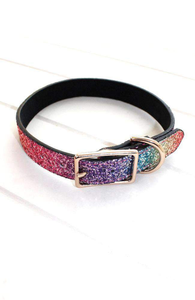 Rainbow Glitter Vegan Leather Fashion Dog Collar