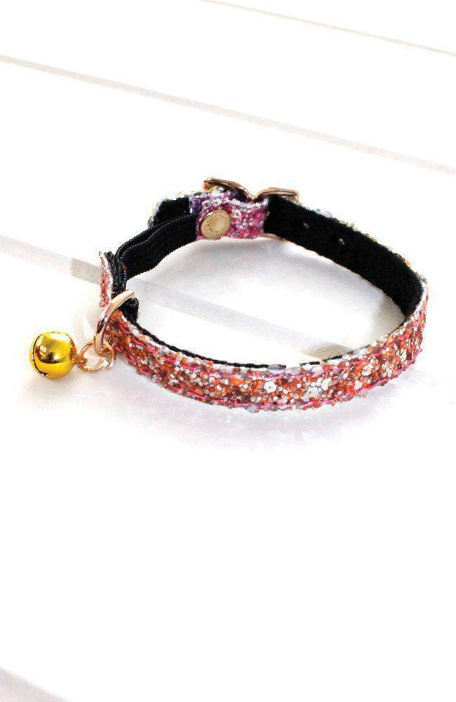 rainbow glitter vegan leather fashion kitten cat collar