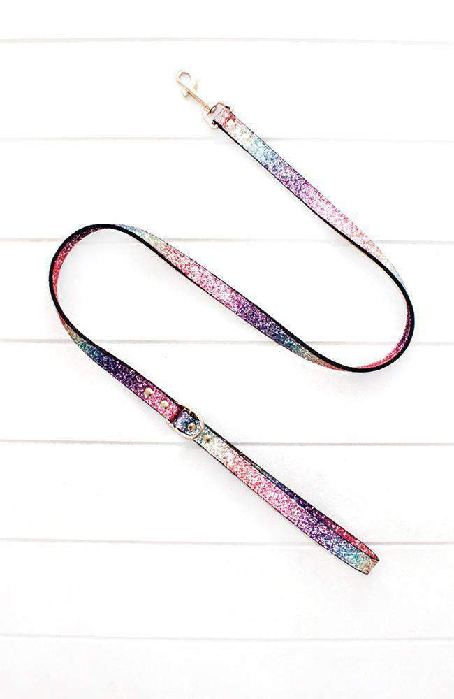 rainbow glitter vegan leather fashion dog lead