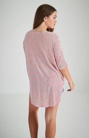 rhoda red and white stripe slouchy tee