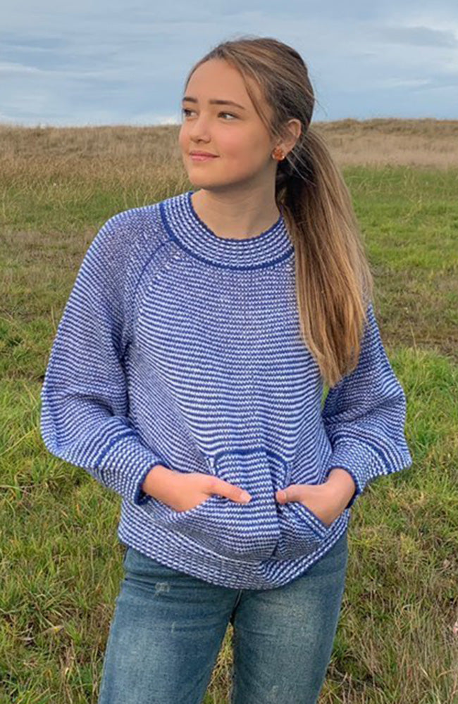 ronnie blue and white balloon sleeve girls knit top