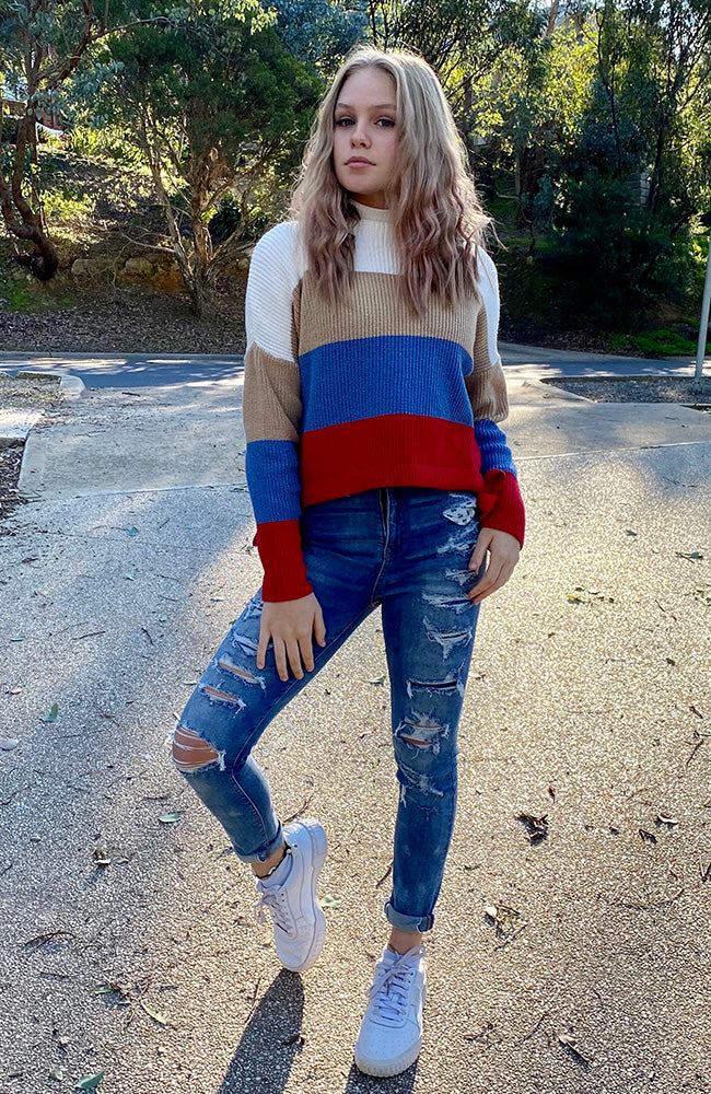 rach colour block striped girls knit top