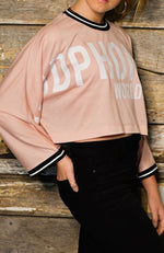 meryl pink crop oversized slogan girls top