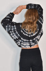 lyra black and white tie dye oversized crop girls sweat top