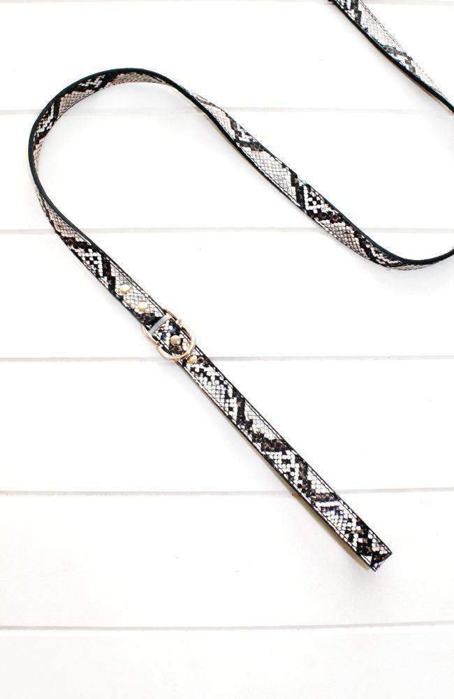 embossed snake vegan leather fashion dog lead