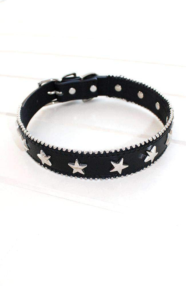 Silver Studded Stars Black Vegan Leather Fashion Dog Collar