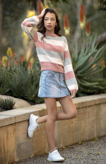 sydney chenile pastel striped slouchy girls knit top
