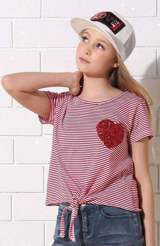 heart to heart sequin tee