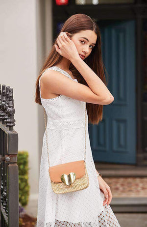 straw gold heart boho party vegan leather crossbody bag