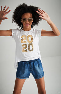 '2020' white gold sequins high low split back slogan tee