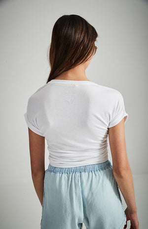 shine white silver jewelled star embroidered soft and slouchy slogan tee