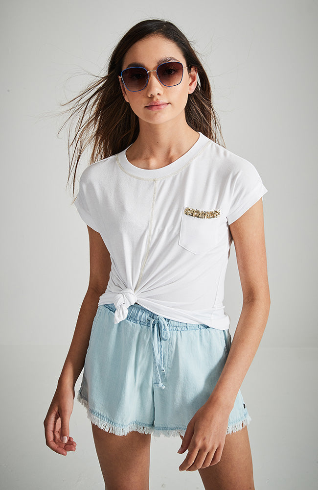 twinkle panel white with gold sequins pocket tee