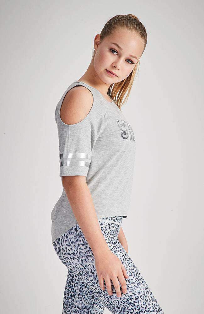 star grey and silver sequin tee