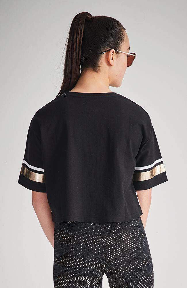 magic black and gold stripe metallic slogan tee