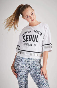 world tour white and silver stripe slogan tee