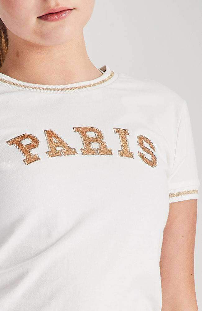 paris gold and white glitter slogan applique tee