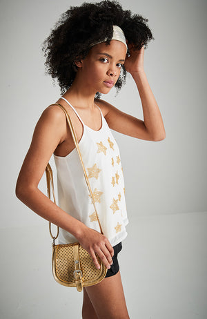 star white with gold beads crossed back neck party top