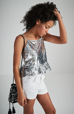kaliopi silver sequins peplum party tank top