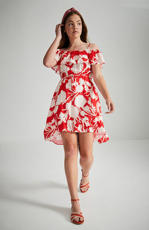 frankie red and white floral print ruffle high low party dress