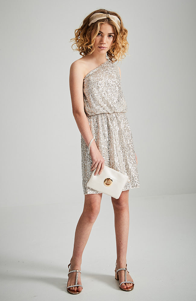 marissa pink sequins one shoulder party dress