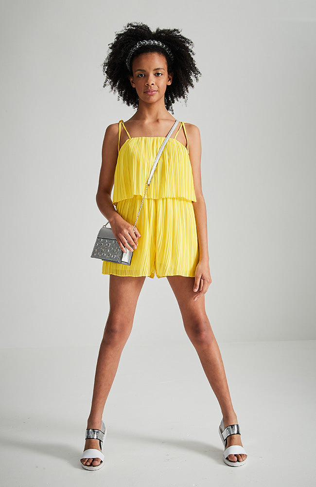 natasha yellow pleated party playsuit