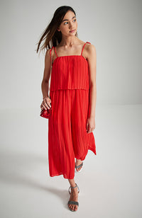 natasha red pleated party jumpsuit