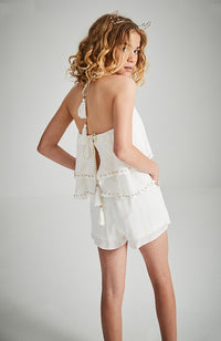 massina cream and gold lurex and beads ruffle backless boho party playsuit